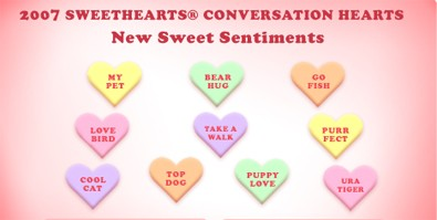 2007 sweethearts conversation pieces Candy Heart Sayings