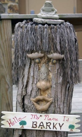 This is a good example of some tree face art with personality. See how to make your own tree face art, talking trees, and more!