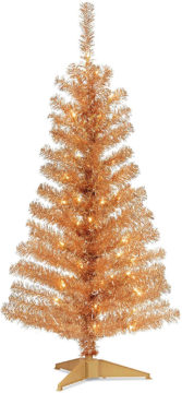 Copper colored Christmas tree - would make a great Halloween tree.