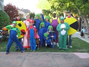 mario brothers and pac man game costumes for a group