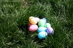 Easter eggs in grass.