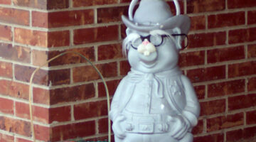 porch pig wearing funny glasses & easter bunny ears