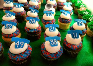 Homemade football cupcakes for Superbowl