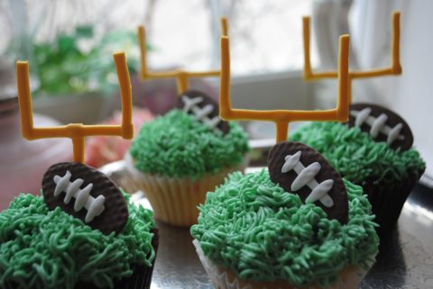 football cupcakes with goalposts