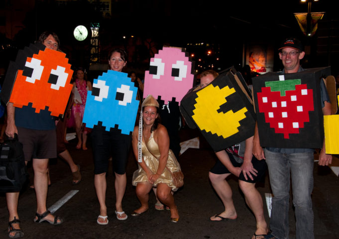 Pacman and ghosts makes a great group costume for halloween photo by