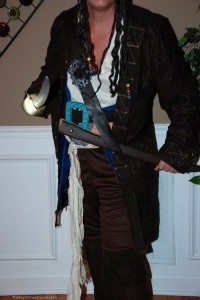 This is the Premiere Jack Sparrow pirate costume from HalloweenCostumes.com photo by Lynnette at TheFunTimesGuide.com