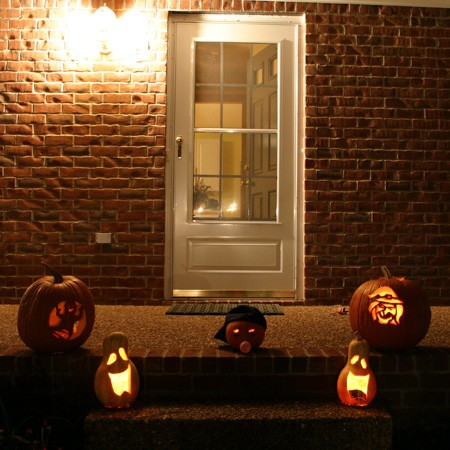 Our Halloween 2004 collection of carved pumpkins and gourds.