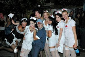a fun twist on a doctors and nurses adult group Halloween costume