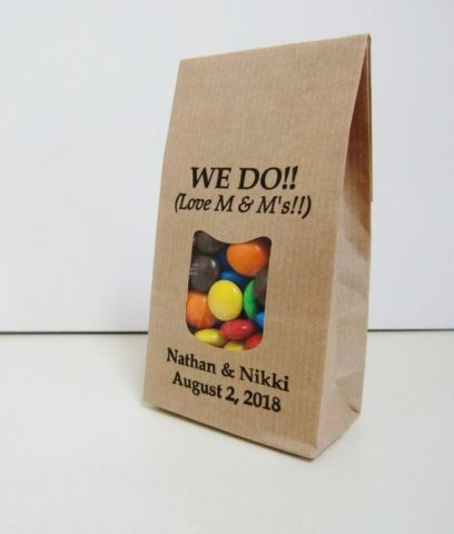 WE DO... love M&Ms! Rustic party favor bags for personalized M&Ms or any other tasty treat or party favor.